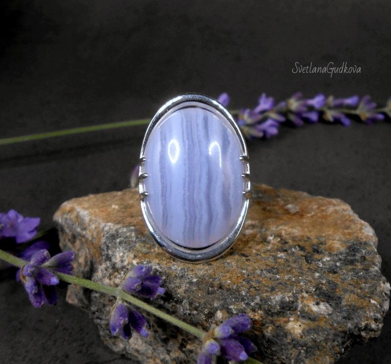 Серебряное кольцо Голубой Лед.  сапфирин, серебро 925 пр. Гудкова Светлана - фото 1