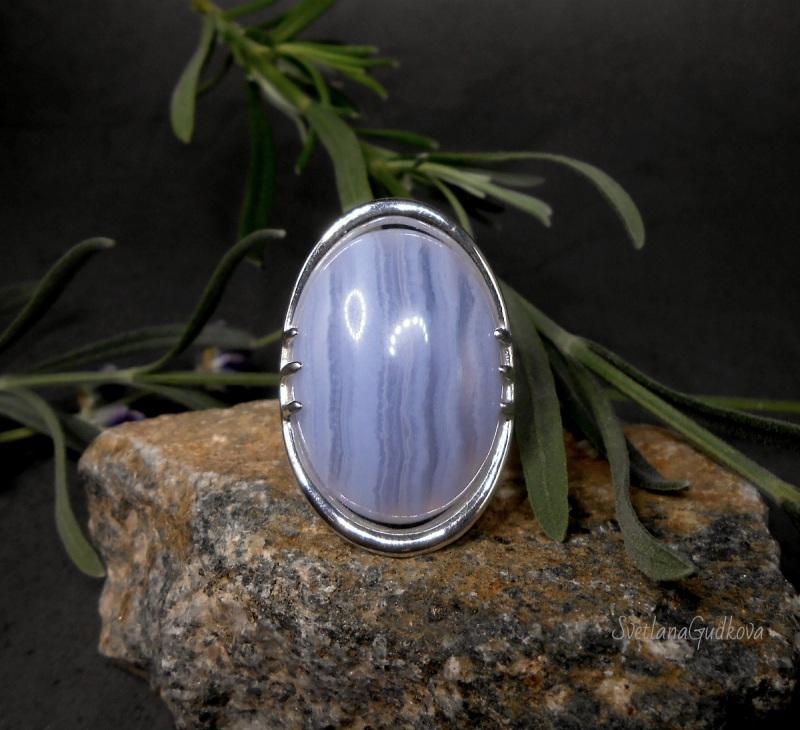 Серебряное кольцо Голубой Лед.  сапфирин, серебро 925 пр. Гудкова Светлана - фото 4