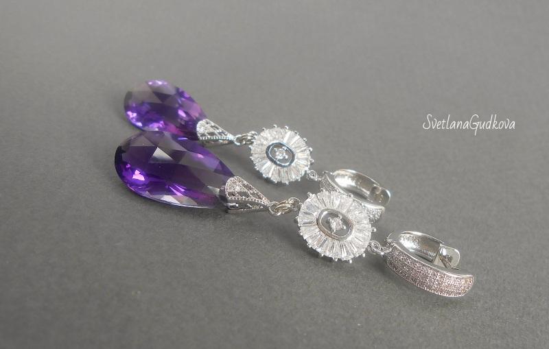 Серьги с аметистом Purple Violet Фиолетовый Аметист фиолетовый, фурни Гудкова Светлана - фото 4