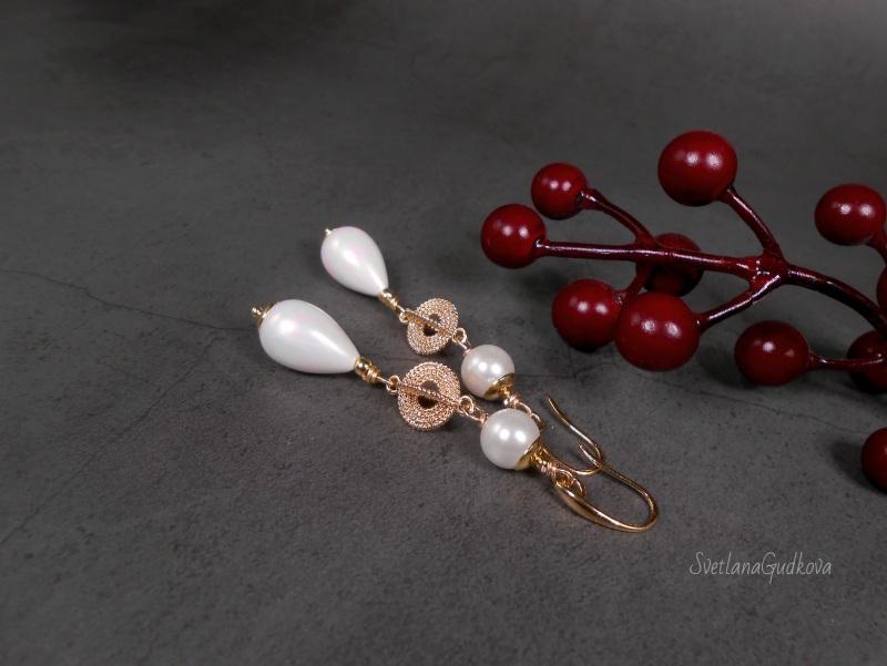 Позолоченные жемчужные серьги  жемчуг shell pearl, стойк Гудкова Светлана - фото 6