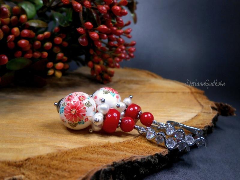 Серьги с кораллом и тенша  красный коралл, жемчуг, Гудкова Светлана - фото 1