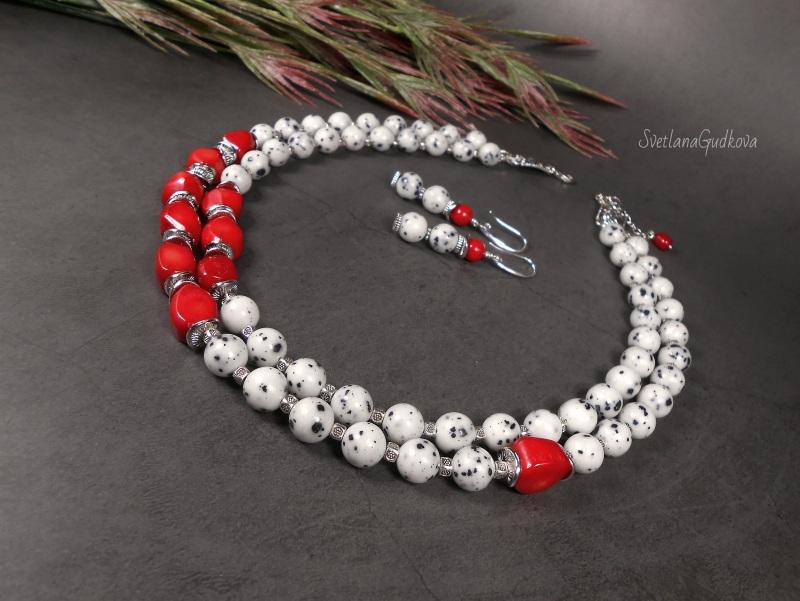 Комплект Элис Белый яшма далматин, красный ко Гудкова Светлана - фото 3