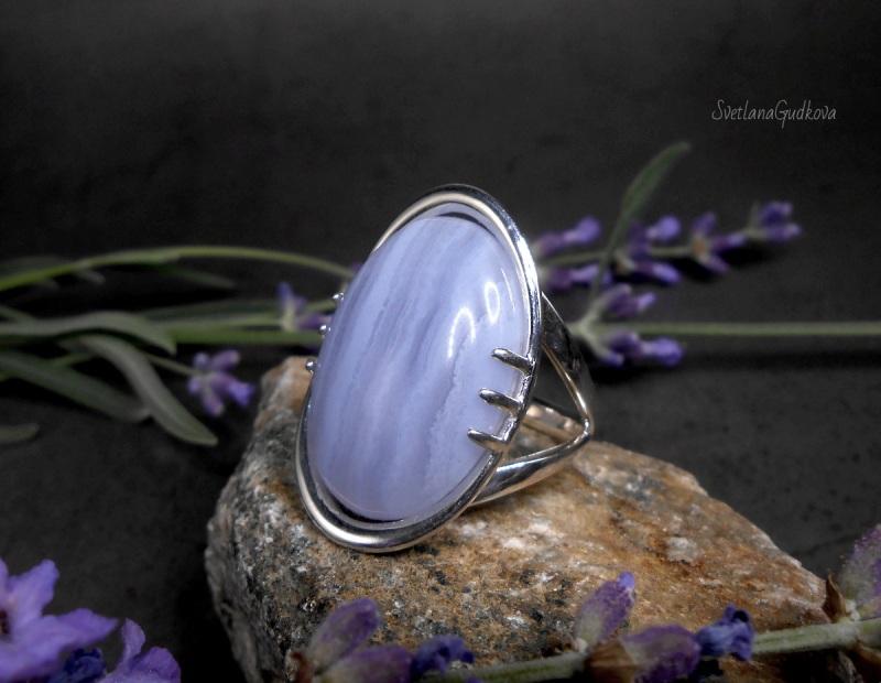 Серебряное кольцо Голубой Лед.  сапфирин, серебро 925 пр. Гудкова Светлана - фото 3