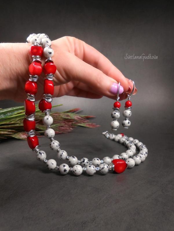 Комплект Элис Белый яшма далматин, красный ко Гудкова Светлана - фото 2