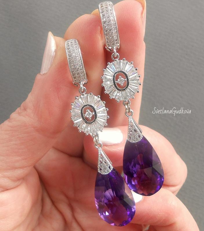 Серьги с аметистом Purple Violet Фиолетовый Аметист фиолетовый, фурни Гудкова Светлана - фото 2