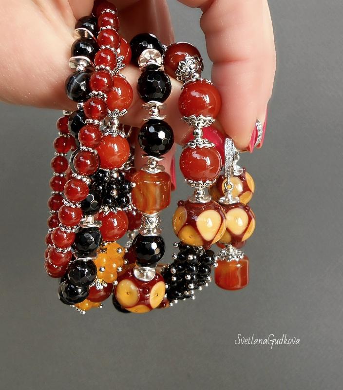 Комплект Лакомка Разноцветный натуральный камень - серд Гудкова Светлана - фото 6