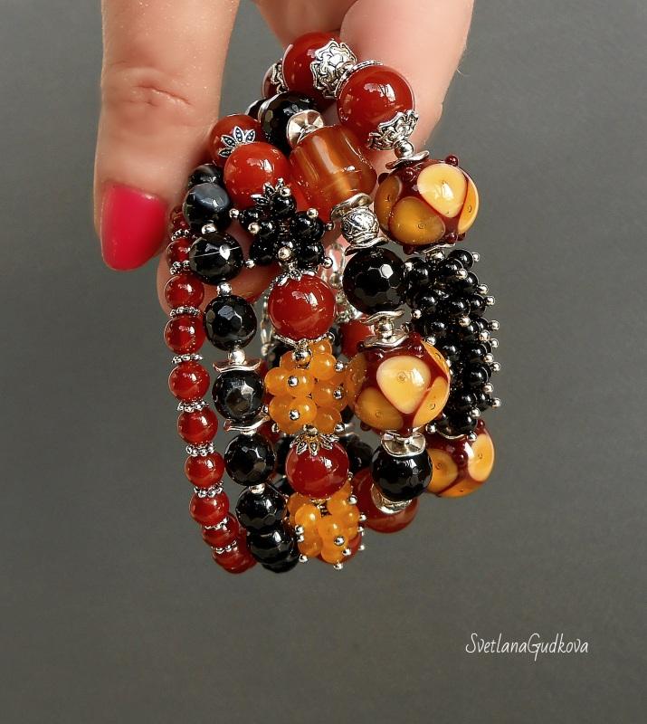 Комплект Лакомка Разноцветный натуральный камень - серд Гудкова Светлана - фото 2