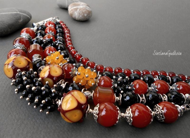 Комплект Лакомка Разноцветный натуральный камень - серд Гудкова Светлана - фото 4