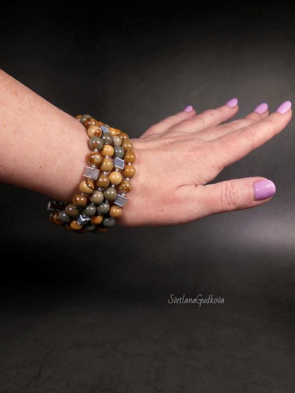 Комплект - колье, браслет и серьги Уютная Осень Разноцветный природная яшма, тибетское Гудкова Светлана - фото 5