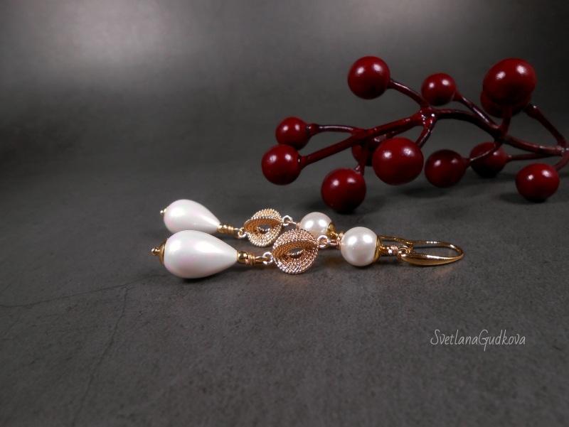 Позолоченные жемчужные серьги  жемчуг shell pearl, стойк Гудкова Светлана - фото 1