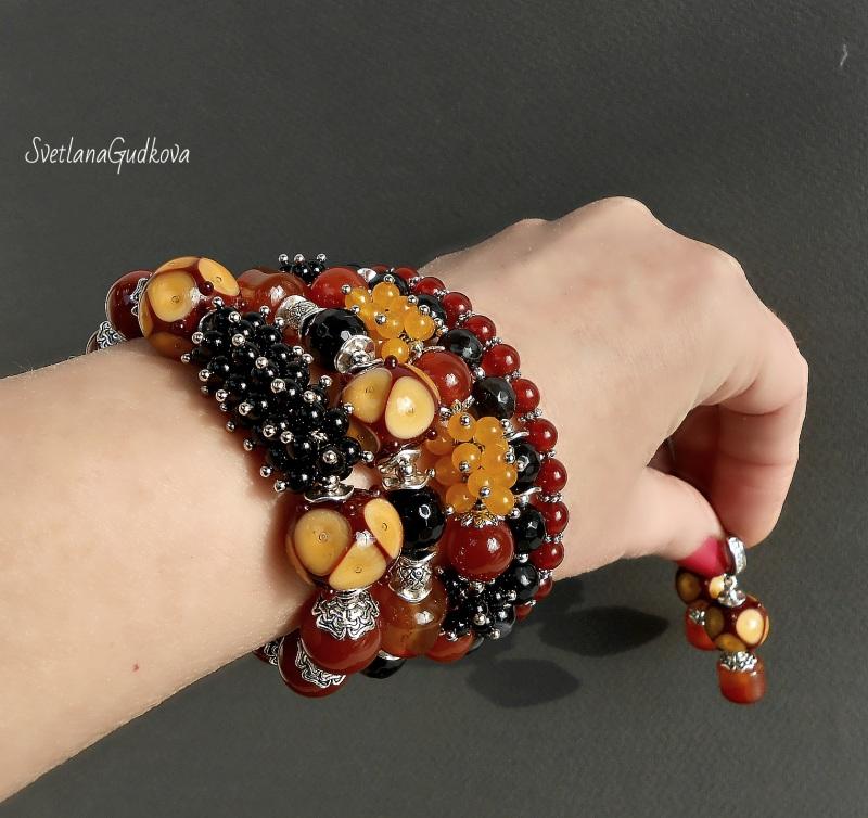 Комплект Лакомка Разноцветный натуральный камень - серд Гудкова Светлана - фото 1