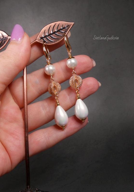 Позолоченные жемчужные серьги  жемчуг shell pearl, стойк Гудкова Светлана - фото 3