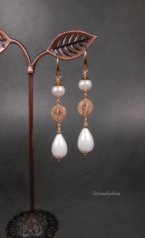 Позолоченные жемчужные серьги  жемчуг shell pearl, стойк Гудкова Светлана - фото 2