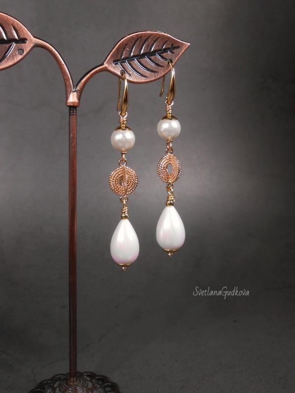 Позолоченные жемчужные серьги  жемчуг shell pearl, стойк Гудкова Светлана - фото 4