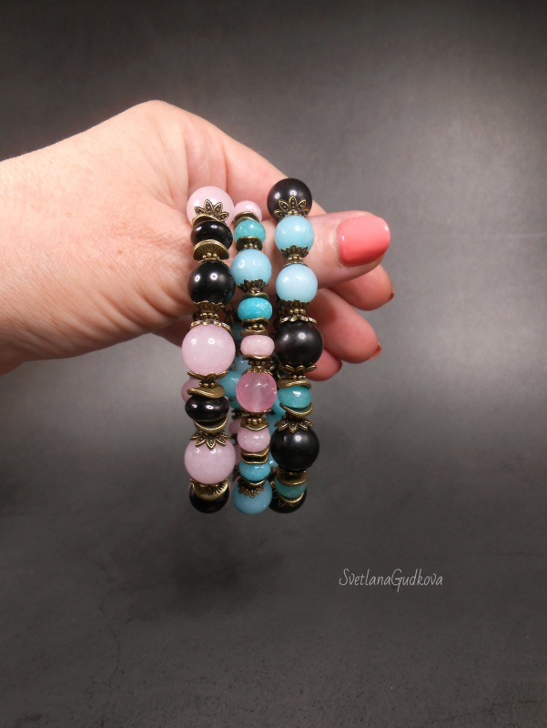 Сет етно браслетів Різнобарвний амазоніт, кварц, чорне де Гудкова Світлана - фото 3