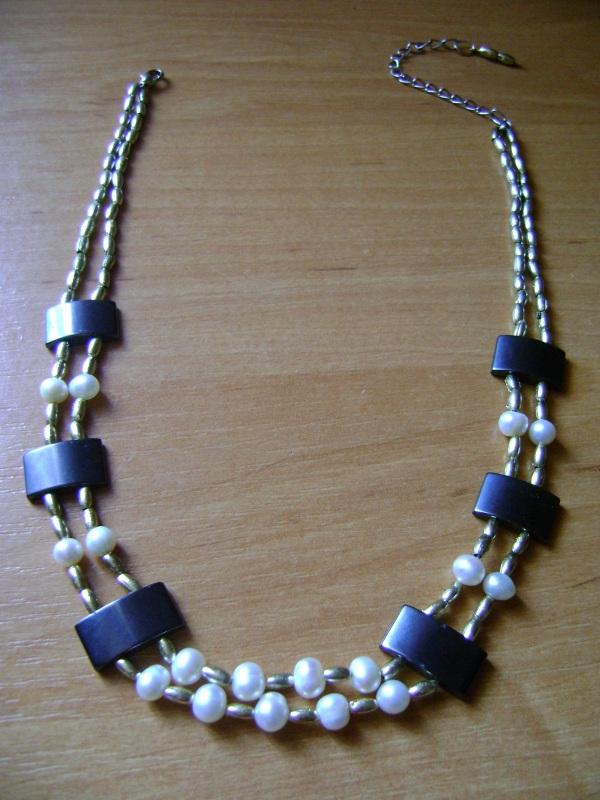Ожерелье Клеопатра Черно-белый Натуральные жемчужины, ге Handmader Marta - фото 2