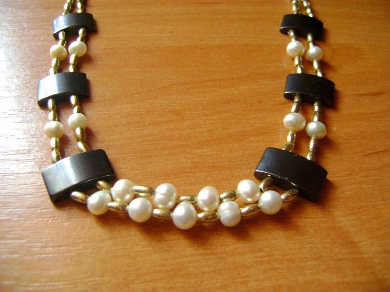 Ожерелье Клеопатра Черно-белый Натуральные жемчужины, ге Handmader Marta - фото 1