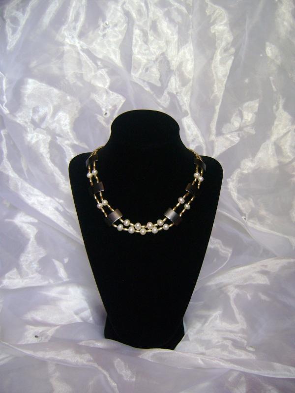 Ожерелье Клеопатра Черно-белый Натуральные жемчужины, ге Handmader Marta - фото 3