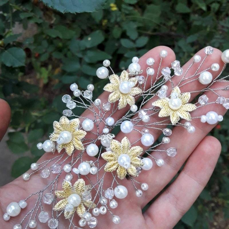 Гілочка в зачіску Білий Намистини, дріт, штучні к Хомідова Марія - фото 3