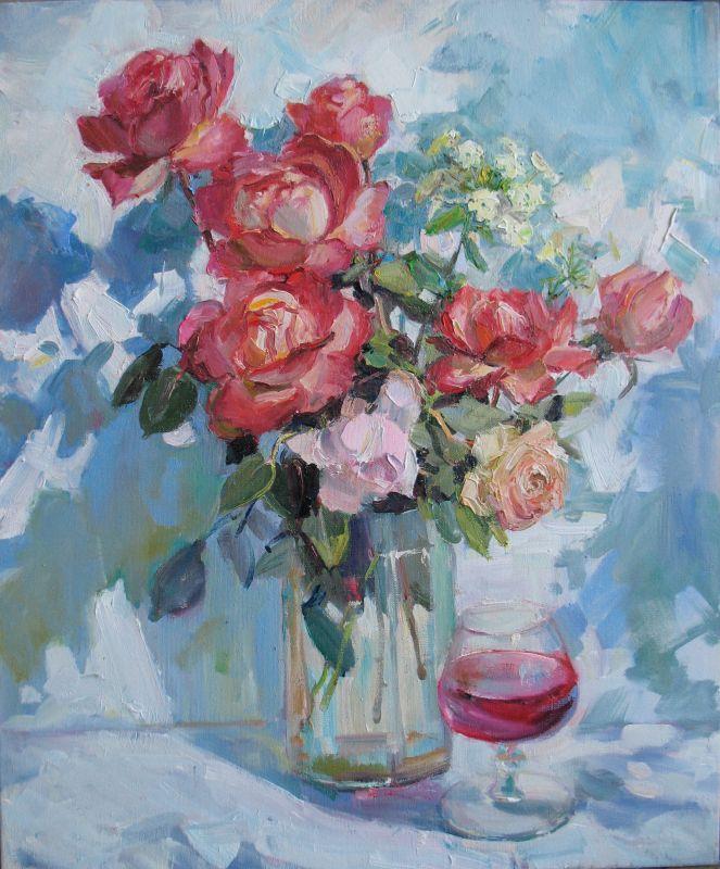 Розы и бокал вина  Холст, масло Храмова Надежда - фото 1