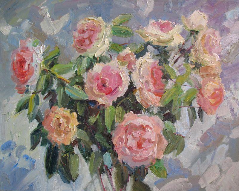Кремові троянди  Полотно, олія Храмова Надія - фото 1