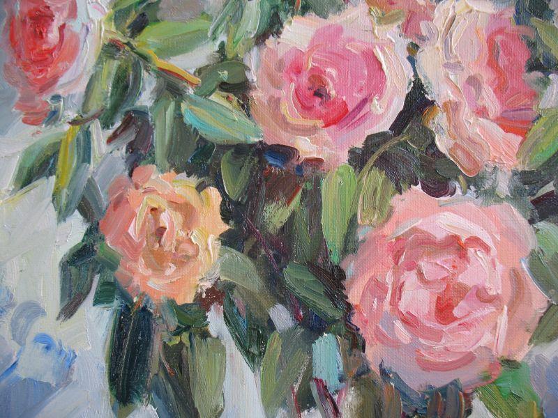 Кремові троянди  Полотно, олія Храмова Надія - фото 3