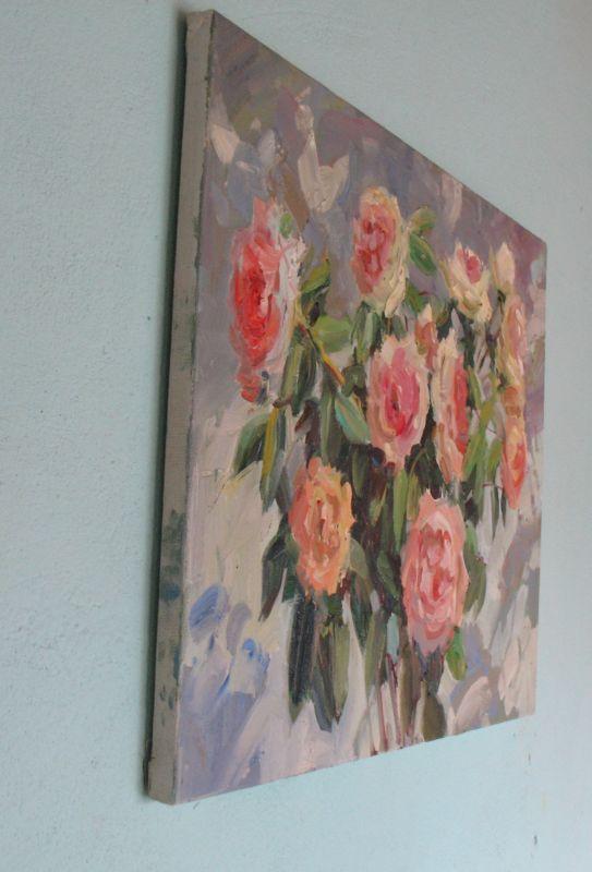 Кремові троянди  Полотно, олія Храмова Надія - фото 4