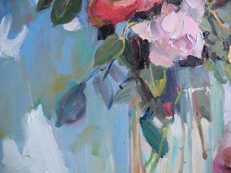 Розы и бокал вина  Холст, масло Храмова Надежда - фото 2