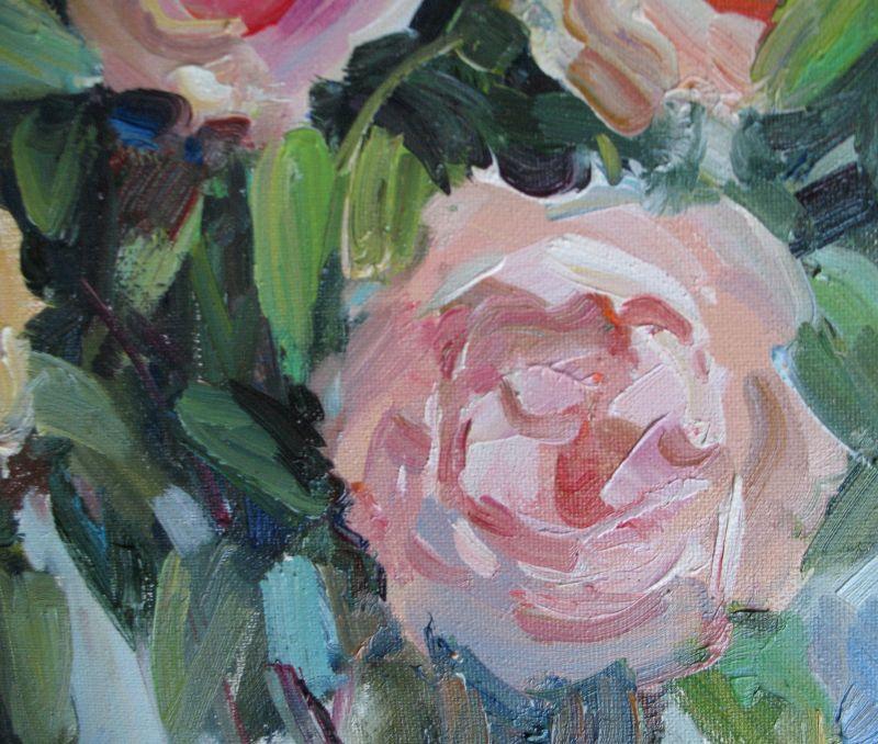 Кремові троянди  Полотно, олія Храмова Надія - фото 5