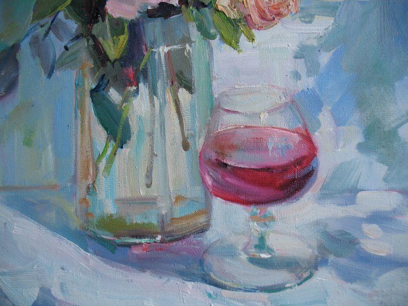 Розы и бокал вина  Холст, масло Храмова Надежда - фото 3