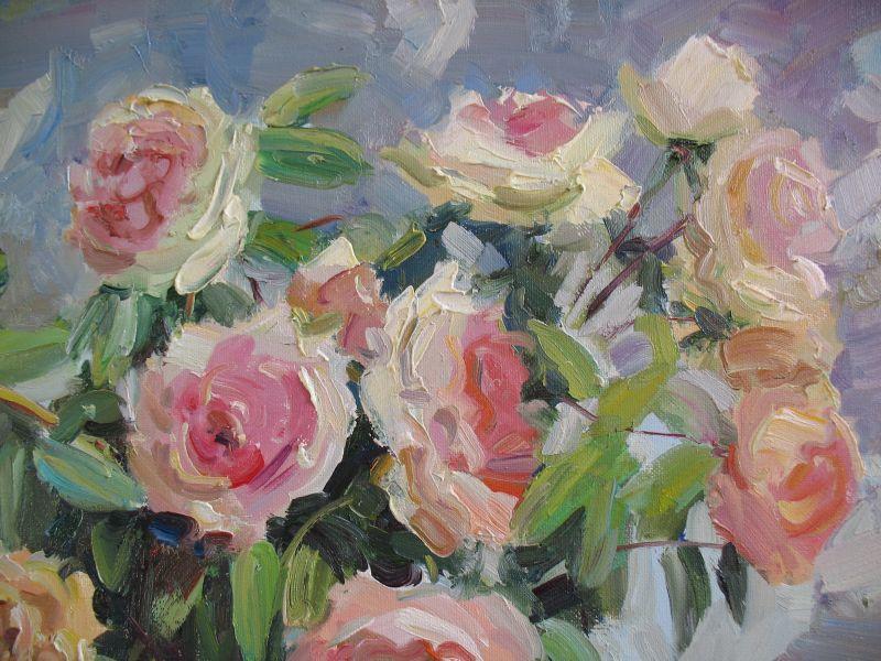 Кремові троянди  Полотно, олія Храмова Надія - фото 2