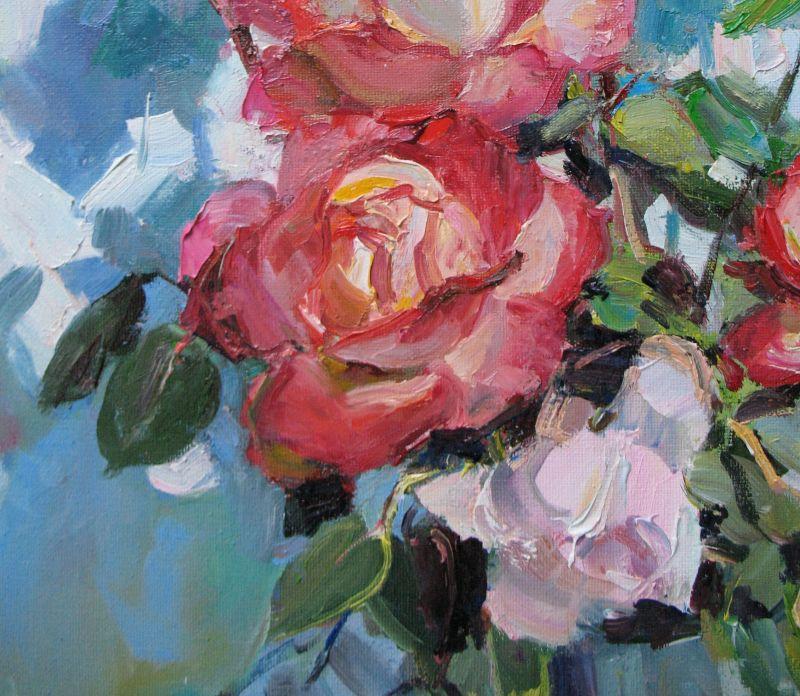 Розы и бокал вина  Холст, масло Храмова Надежда - фото 5