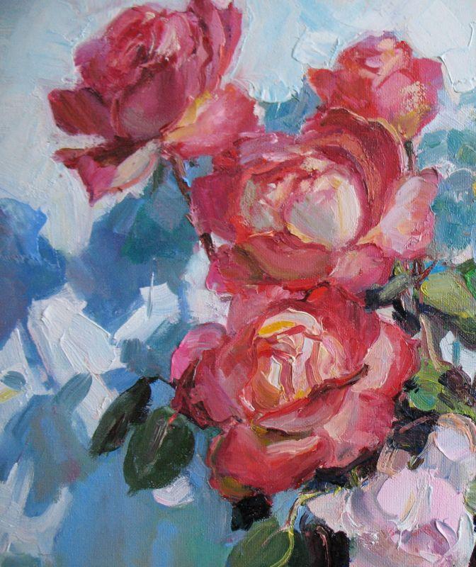 Розы и бокал вина  Холст, масло Храмова Надежда - фото 4