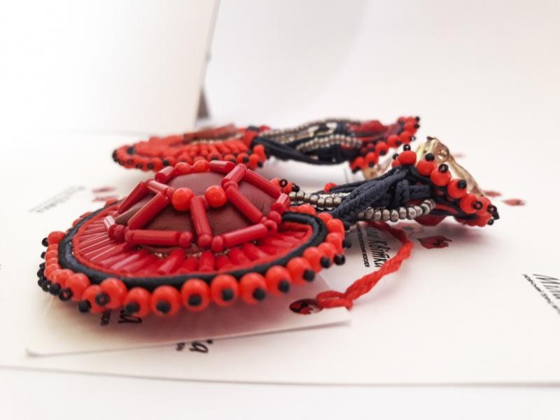 """Сережки """"Огняні"""" Червоний Чеські кабошони, сутаж, ч Квітка Міла - фото 3"""