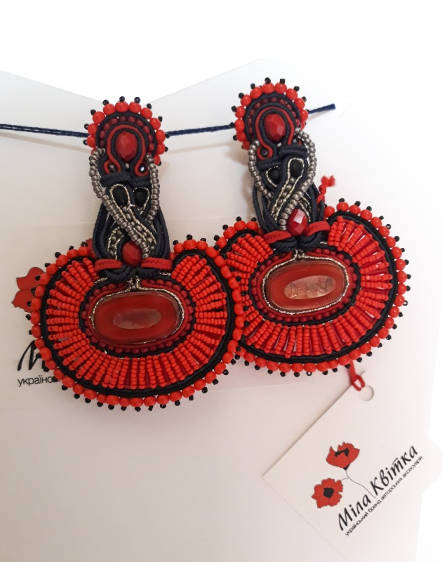 """Сережки """"Огняні"""" Червоний Чеські кабошони, сутаж, ч Квітка Міла - фото 1"""