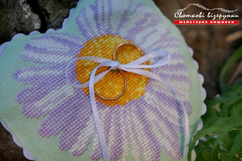 Свадебная подушечка для колец Влюбленная астра  ткань равномерного перепл Качур Юлия - фото 5