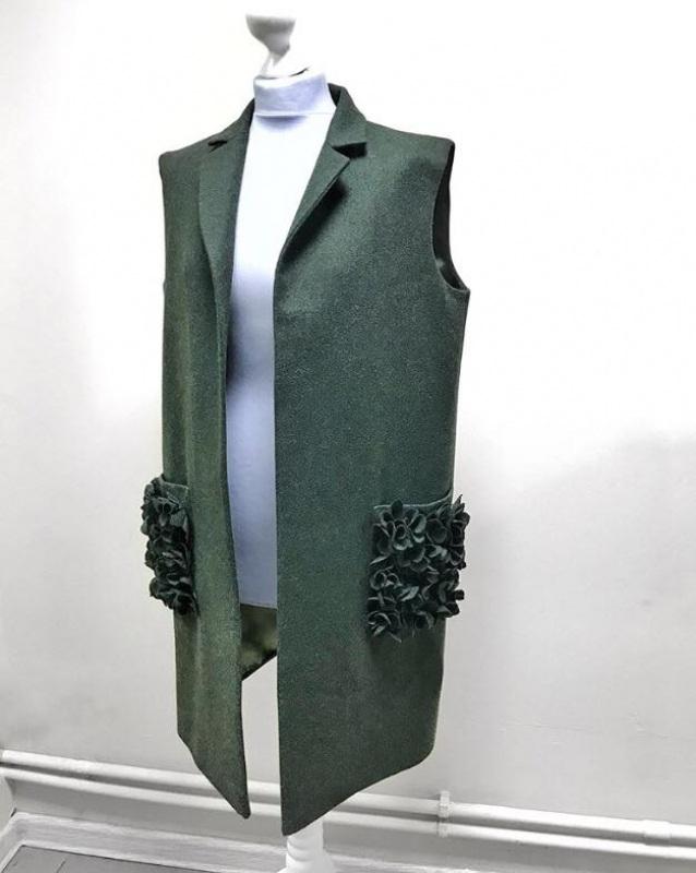 Жилет Зеленый 100% шерсть Капрановы Светлана и Инна - фото 1