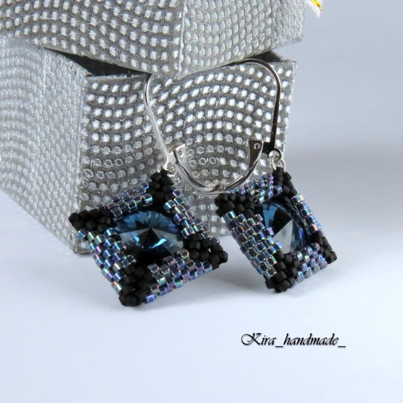 Серьги из бисера и Swarovski Синий Японский бисер Delica, кр Карчкова Ирина - фото 4