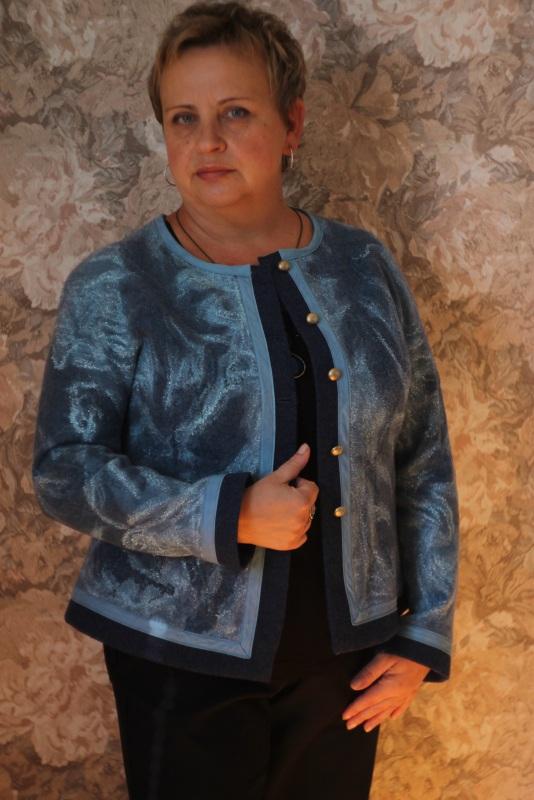 Жакет валяный, ручной работы Голубой Шерсть, натуральный шелк, Кайдрис Галина - фото 1
