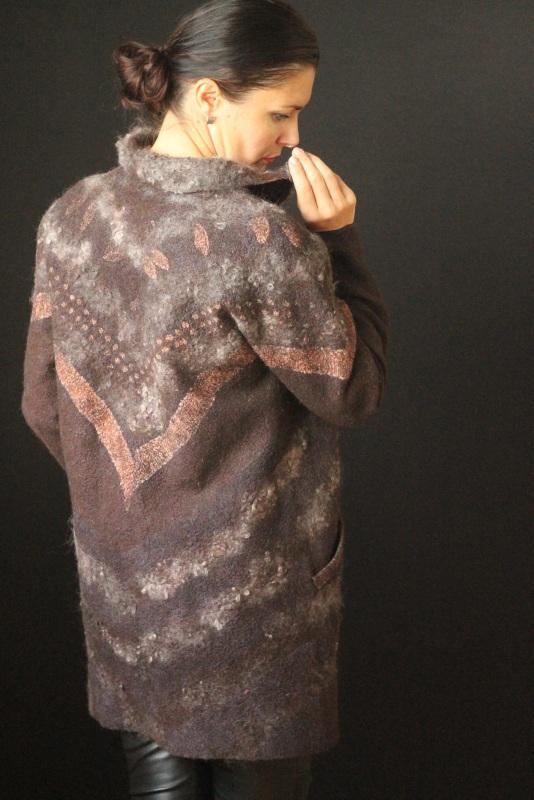 Пальто цельноваляное Коричневый Шерсть,натуральний шелк, Кайдрис Галина - фото 3