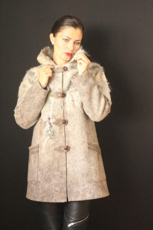Пальто цельноваляное, ручной работы Серый Высококачественная шерсть Кайдрис Галина - фото 1