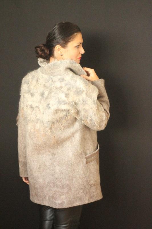 Пальто цельноваляное, ручной работы Серый Высококачественная шерсть Кайдрис Галина - фото 3