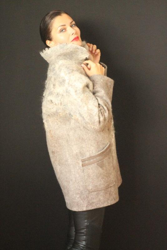 Пальто цельноваляное, ручной работы Серый Высококачественная шерсть Кайдрис Галина - фото 4