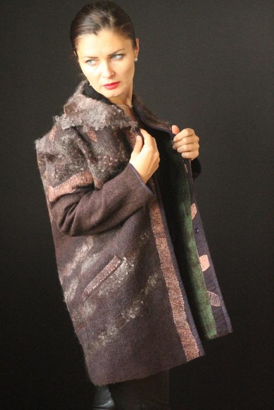 Пальто цельноваляное Коричневый Шерсть,натуральний шелк, Кайдрис Галина - фото 5