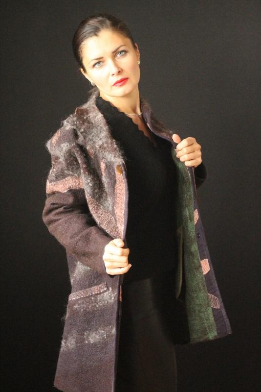 Пальто цельноваляное Коричневый Шерсть,натуральний шелк, Кайдрис Галина - фото 4