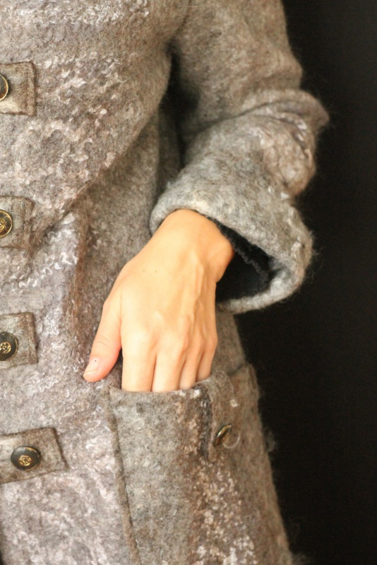 Пальто валяное, ручной работы Серый Высококачественная овечья Кайдрис Галина - фото 2