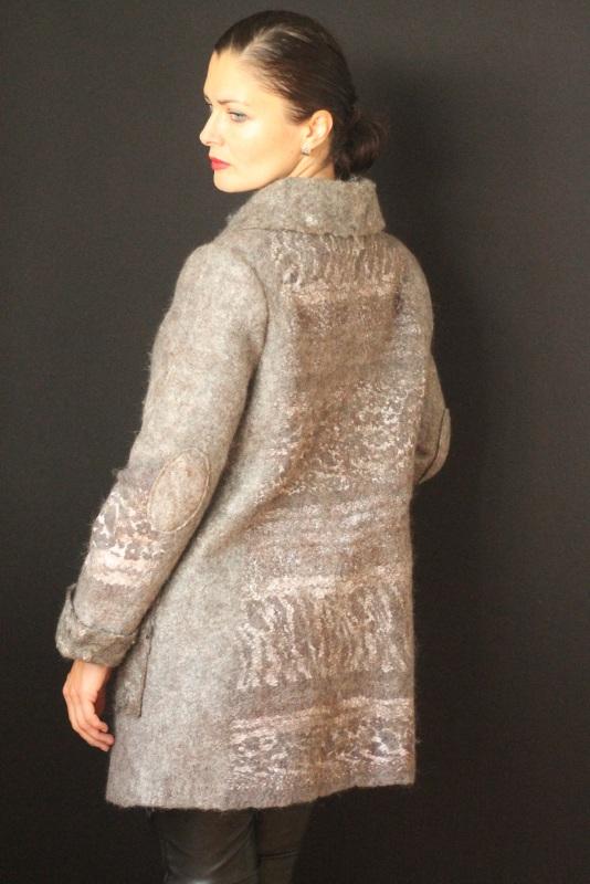 Пальто валяное, ручной работы Серый Высококачественная овечья Кайдрис Галина - фото 4