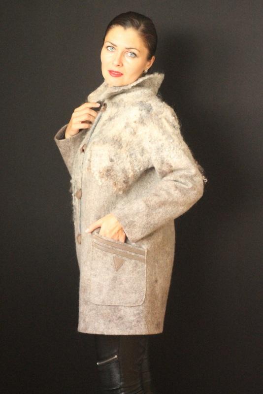 Пальто цельноваляное, ручной работы Серый Высококачественная шерсть Кайдрис Галина - фото 2