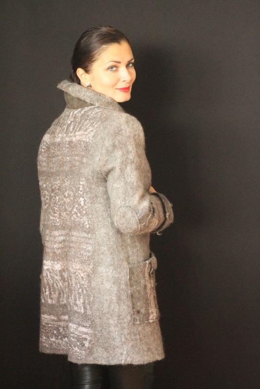 Пальто валяное, ручной работы Серый Высококачественная овечья Кайдрис Галина - фото 5