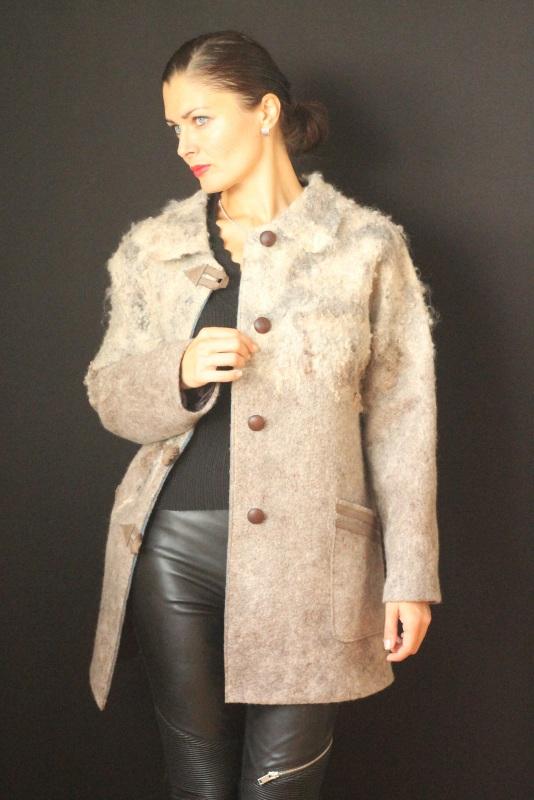 Пальто цельноваляное, ручной работы Серый Высококачественная шерсть Кайдрис Галина - фото 5